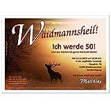 Moderne Einladungen zum Geburtstag 18 20 25 30 40 cool lustig Wunschtext ändern für Jäger Waidmann Jägerinnen, 30 Karten - 17 x 12 cm