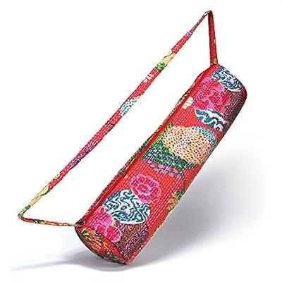 Yogatasche »RoshanaraÂ« von #DoYourYoga / Echte Handarbeit, 100% Baumwolle mit Kantha-Stickerei. TOP-MARKEN-QUALITÄT. In verschiedenen blumigen Designs erhältlich.