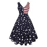 Damen 1950er Vintage Abendkleid Damen Kleid Retro Flagge Drucken Cocktailkleid V-Ausschnitt Kleid Elegant Rockabilly Abendkleider Partykleider Ballkleider Damenkleider