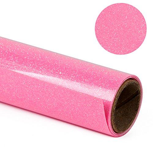m Glitter Flake Wärmeübertragung Vinyl Rolle für T-shirt, Kleider Taschen und Andere Stoffe (Fluorescent Pink) (Importierte Kleider)