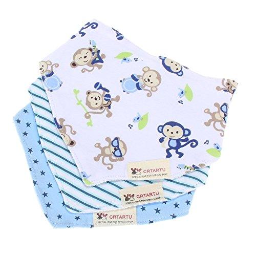 ninos saliva toalla - crtartu Pack de 3 baberos con imagenes divertidad para ninos monkey