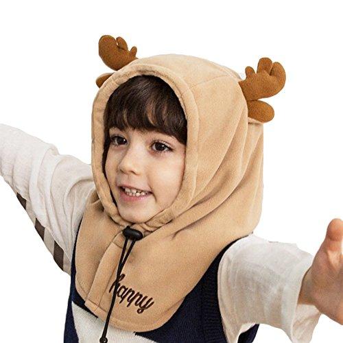 Unisex-Kinder Mütze Sets Jungen Mädchen mit Circle Schal Ski-Outdoor Sport Winter Warme Mütze Cap Dunkle Kaffee-Rotwild/S (Kinder-circle-schal)
