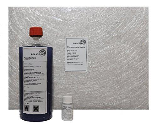 Karosserie Reparatur-Set 1kg Polyesterharz + Härter + 2m² Glasfasermatte 300g/m² Test