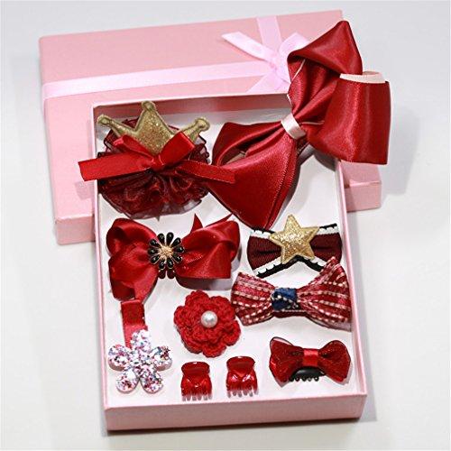 Lalang 10pcs Girls Ribbon Hair Clips Set Cute Bowknot Flower Princess Glitter Hair Barrettes Red