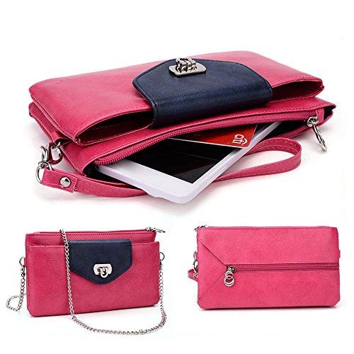 Kroo Téléphone, la avec support de carte de crédit pour de nombreux 5jusqu'à 15,2cm cas Wristlet pour Vivo xplay3s/Vodafone/ZTE/Pantech mehrfarbig - rose mehrfarbig - Hot pink Navy Blue