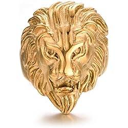 Yoursfs anillo de cabeza de León Big Man 68 mm oro amarillo plateado joyas de acero inoxidable para el niño como regalo