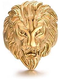 Yoursfs Anillo de León Oro Amarillo Hombres de Acero Inoxidable para Hombres o Niños como Regalo de Cumpleaños o Celebración