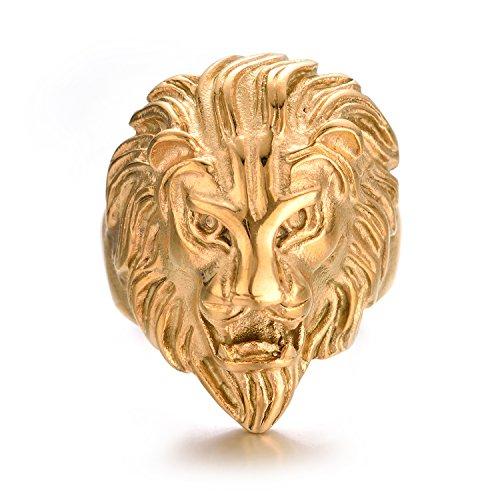Yoursfs-Schmuck Ring Mannstahl Rostfrei-headed Lion golden gelb-Größe 56,5