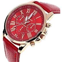 Amsion Marea números romanos de cuero de imitación de cuarzo analógico reloj de las mujeres (rojo)