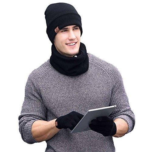 Sombrero bufanda conjunto de guantes, 3 piezas de lana de invierno tejida Sombrero bufanda Pantalla táctil guantes para hombres, mujeres