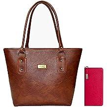Flora Premium PU Leather Women's Handbag And Women's Wallet Clutch Combo (Dark Brown / Pink Color)