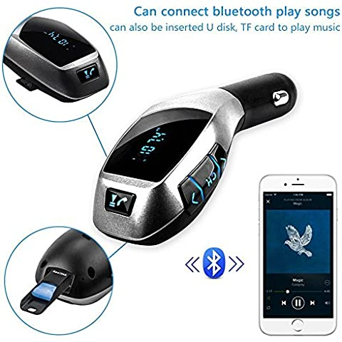 X5 Car Kit MP3 Player Wireless Bluetooth FM Transmitter Radio Adapter Car Charger with USB SD Card Reader and Calling Remote Control for Ipad, Ipod , Smart phones