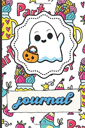 Halloween Ghost Journal: Party Time Happy Birthday Lined Notebook Blue Bird Party Hats Stars Candy Hearts Cover (Halloween Party-ideen Ghost)