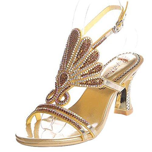SYYAN Damen Leder Strasssteine Offener Zeh Pure Handmade Pumpe Kleid Sandalen Hochzeit Gold 2