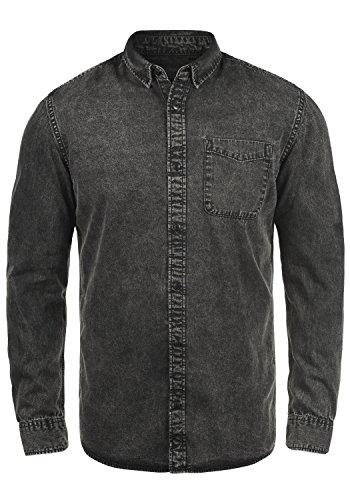 Produkt pepito Herren Jeanshemd Denim Shirt mit Kentkragen Aus 100% Baumwolle, Größe:L, Farbe:Light Grey Denim (Kurzarm-jeanshemd Baumwolle)
