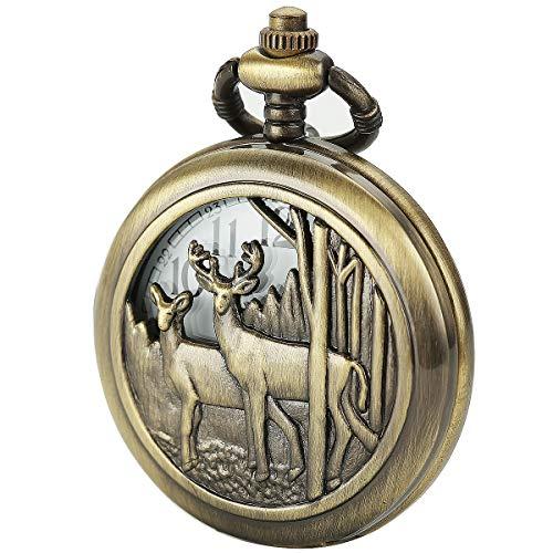SIBOSUN Antik Manner Taschenuhr Mit Kette Bronze-Fall Hirsch Rentier Holz Kette + Box + Kunstlederschnur (Hirsch Taschenuhr)