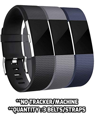Rapidotzz Pack of 3 Belts/Straps Compatible for Fitbit Charge2 Bands Wristband Straps (3 Units) Large