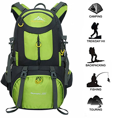 Hiking Backpack 50L (45 + 5) Nylon Waterproof Backpack Outdoor Sports Day Package Hiking Camping Fishing Trip Cycling Skiing by Newpurslane (Green)