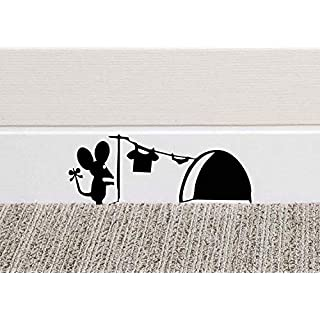 213B Mouse Hole Wall Art Sticker Washing Vinyl Decal Mice Home Skirting Board Funny