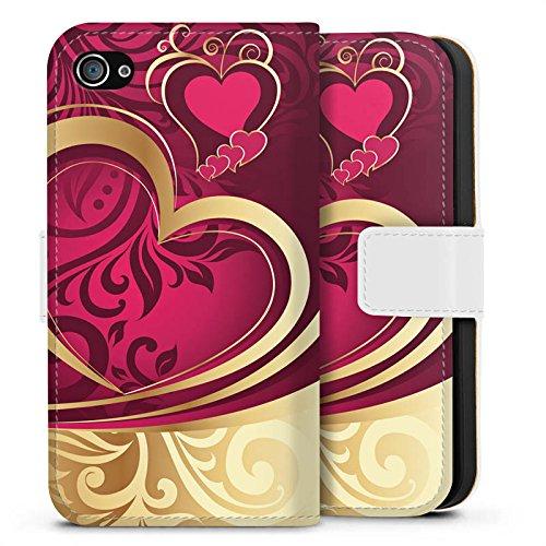Apple iPhone X Silikon Hülle Case Schutzhülle Liebe Herz Love Sideflip Tasche weiß