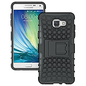 AA19 Samsung Galaxy A5 (2016) , Rugged Dual Layer Tpu + Pc Kickstand Hybrid Case Back Cover For Samsung Galaxy A5 (2016) - Rugged Black