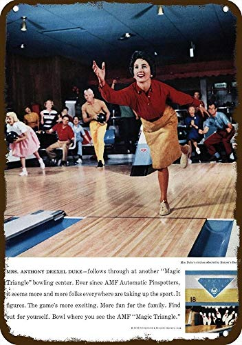 Laptopo 1960 AMF Bowling Center Vintage Look Replica Metal Sign Bowl Bowling Ball Alley (Amf Ball Bowling)