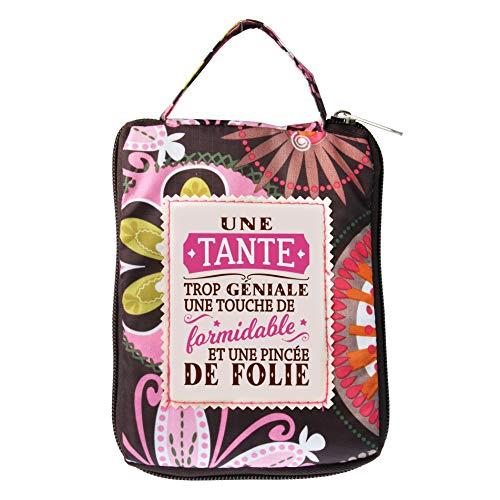 LES PETITES NANAS 04221000007 Les Sac Shopping personnalisé TANTE-04221000007, Polyester, Multicolor, Marron, Rose, Taille Unique