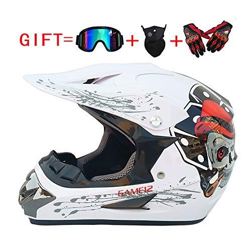 LEENY Adult Motocross Helm für 4 Jahreszeiten Unisex, Cross-Country-Motorradhelm und Mountainbike-Off-Road-Helm, Sport Reithelm MTB Integralhelme Schutzhelm Set mit Brille, Handschuhe, Maske,M