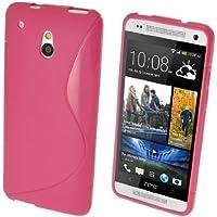 GADGET BOXX HTC ONE MINI M4 S-LINE Silikon-Gel in ROSA ABDECKUNG FALL und Bildschirmschutz