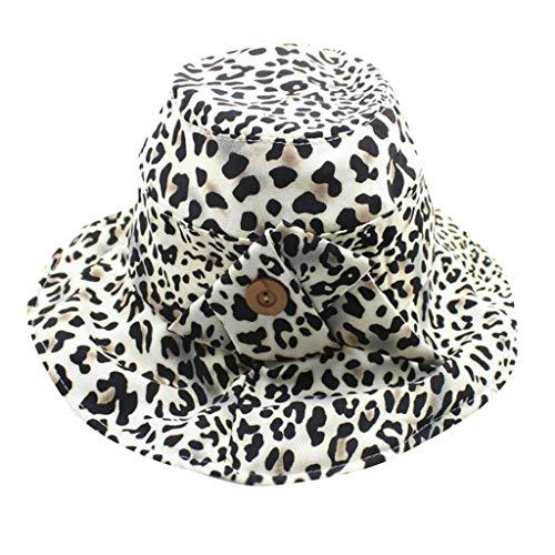 Junjie Sonnenhut mit UV-Schutz UV-Strahlen Packable Stilvolle Sommerhüte Leopard knopfkappen-Strand Hut Flut männer und Frauen Fischerhut mit breiter Krempe