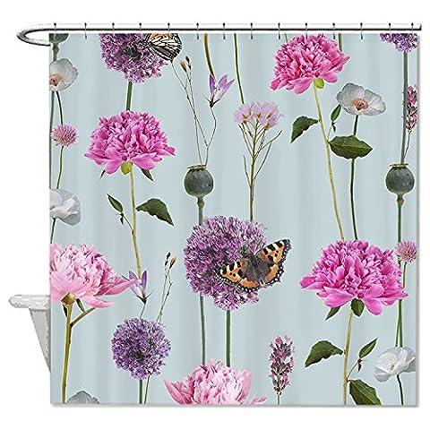 Rioengnakg Couleurs Flora et rose Floral Papillons Polyester imperméable Rideau
