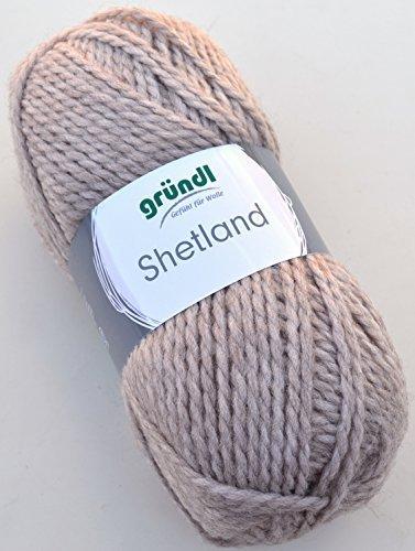 Gründl Wolle Shetland Farbe 06 - mocca melange - Handstrickgarn in Pastelltönen zum Stricken & Häkeln (Strickjacke Shetland Wolle)