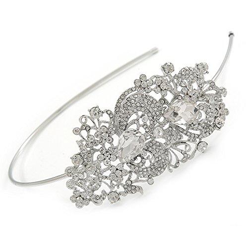 ck/Hochzeit/Ball Rhodium vergoldet klar Kristall Feder Motiv Tiara Haarreif (Feder Tiara)