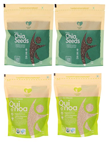 Nourish You Organic Quinoa and Chia Seeds, 1300 grams (Value Pack of 2+2 )  available at amazon for Rs.1150