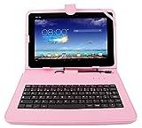 Duragadget Etui aspect cuir rose avec clavier intégré AZERTY (français) pour Asus...