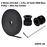 #6: 2 Meters GT2 6mm Open Timing Belt + 2 Pcs BLACK GT2 Timing Pulley 20 Teeth 5mm Bore + Allen Key