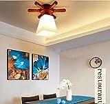 GBT Echte Holz Veranda Lampe Gang Licht LED Charakter Mittelmeer Foyer Balkon Decke,Schräge Abdeckung (ohne Lichtquelle)