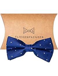 FLIEGENFAENGER® Herren Anzug Fliege [Blau Weiß gepunktet] - vorgebunden und individuell verstellbare Schleife Accessoire für Männer inklusive Geschenkbox kombinierbar mit Einstecktuch