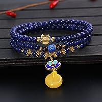 OMZBM Natürliche Saphir Armband Multilayer S925 Sterling Silber Handgemachte Galvanik K Gold Schmetterling Anhänger Halskette Dual Use Für Frauen Schmuck