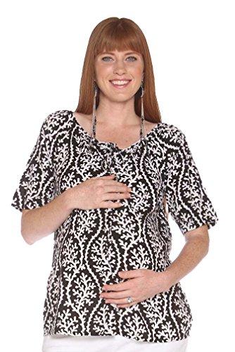 Due Maternity Macy Schwangerschafts-Top mit Knopfleiste vorne, Schwarz/Weiß - Schwarz - Klein