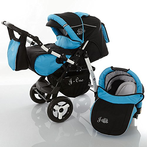 Chilly Kids J1 Kombikinderwagen Komplettset (Autositz, Regenschutz, Moskitonetz) 30 Black Shadow & Aqua