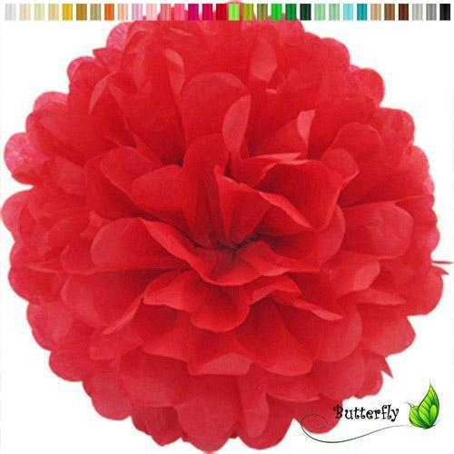 Pompon 20cm (rot 250) // Pompom Bommel Papier Kugel Seidenpapier Pompon Blumen Deko Hängedeko Raumdeko ()