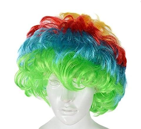 Longless Halloween Farbe Clown Perücke Kopf Haube Comedy Show Wetten Perücke Explosion Kopf (Clown Kostüme Ziel)