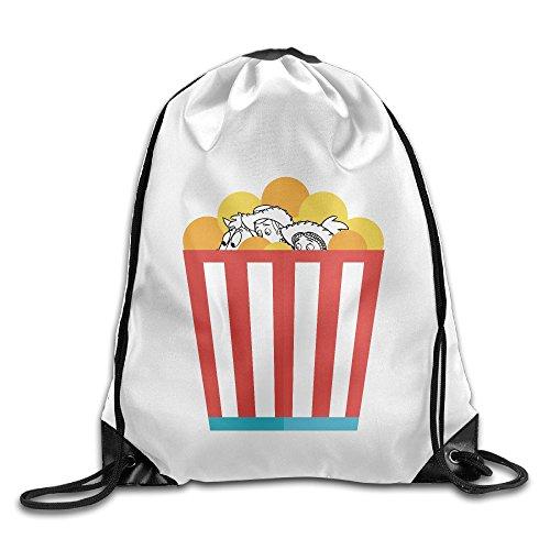 Fröhlicher Bay Max Roboter Gläser gxgml Print Rucksack Taschen Unisex Fashion Kordelzug Schulter Rucksäcke Leinwand Taschen Casual Travel Bags Schulter Tasche Beam Port Rucksack Einkaufstasche, Segeltuch Tasche Aufbewahrungstasche One Größe weiß, unisex, Finding Dory Toy Story Popcorn