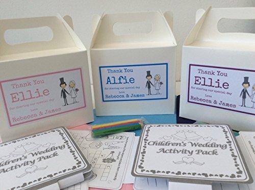 Kinder Hochzeits-Box, mit Beschäftigungs-Pack, Bleistifte und Seidenpapier, personalisierbar