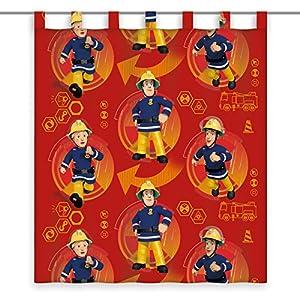 Herding Vorhang Feuerwehrmann Sam, Polyester, Rot, 160 x 140 cm
