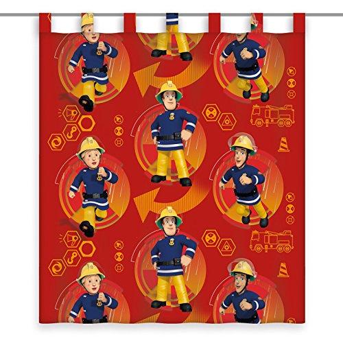 feuerwehr gardine Herding Vorhang Feuerwehrmann Sam, Polyester, Rot, 160 x 140 cm