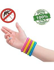 #1 Bracelets anti-moustique par NATURO-paquet/famille de 10 Bracelets- Résistant à l'eau couleur moustiques Bracelets- 100% Naturels Huiles essentielles, sécurises et efficaces de DEET : 2500 heures de protection