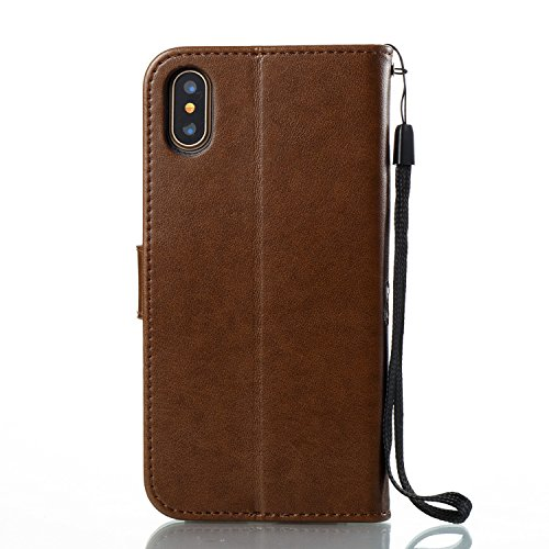 Custodia iPhone X, iPhone X Cover Wallet, SainCat Custodia in Pelle Flip Cover per iPhone X, Ultra Sottile Anti-Scratch Book Style Custodia Morbida Cover Protettiva Caso PU Leather Custodia Libretto A Marrone Chiaro
