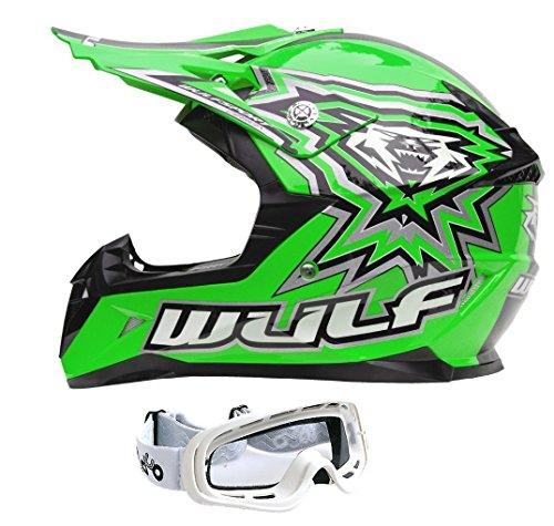 Motorradhelm für Kinder WULFSPORT ATV Helm Motocross Rennhelm Mit Brille Alle Farbe (XL, Grün)